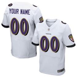 Elite Men's White Road Jersey - Football Customized Baltimore Ravens