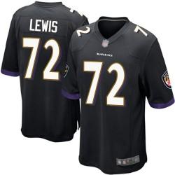 Game Men's Alex Lewis Black Alternate Jersey - #72 Football Baltimore Ravens