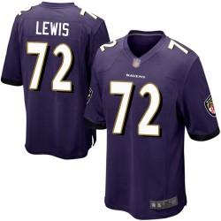 Game Men's Alex Lewis Purple Home Jersey - #72 Football Baltimore Ravens