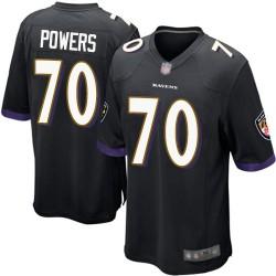 Game Men's Ben Powers Black Alternate Jersey - #70 Football Baltimore Ravens