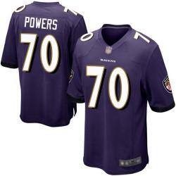 Game Men's Ben Powers Purple Home Jersey - #70 Football Baltimore Ravens