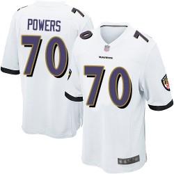 Game Men's Ben Powers White Road Jersey - #70 Football Baltimore Ravens