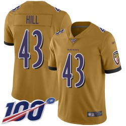 Limited Men's Justice Hill Gold Jersey - #43 Football Baltimore Ravens 100th Season Inverted Legend