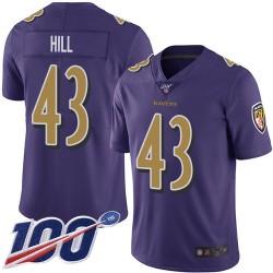 Limited Men's Justice Hill Purple Jersey - #43 Football Baltimore Ravens 100th Season Rush Vapor Untouchable