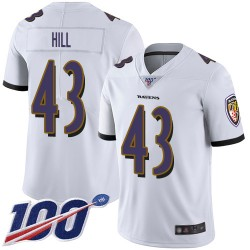 Limited Men's Justice Hill White Road Jersey - #43 Football Baltimore Ravens 100th Season Vapor Untouchable