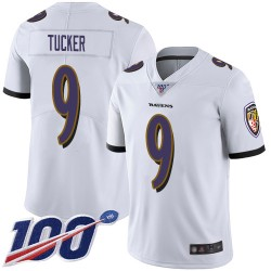 Limited Men's Justin Tucker White Road Jersey - #9 Football Baltimore Ravens 100th Season Vapor Untouchable