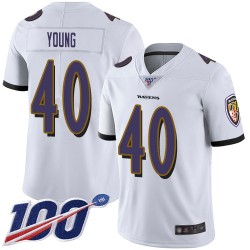 Limited Men's Kenny Young White Road Jersey - #40 Football Baltimore Ravens 100th Season Vapor Untouchable