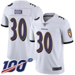 Limited Men's Kenneth Dixon White Road Jersey - #30 Football Baltimore Ravens 100th Season Vapor Untouchable