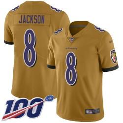 Limited Men's Lamar Jackson Gold Jersey - #8 Football Baltimore Ravens 100th Season Inverted Legend