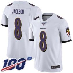 Limited Men's Lamar Jackson White Road Jersey - #8 Football Baltimore Ravens 100th Season Vapor Untouchable