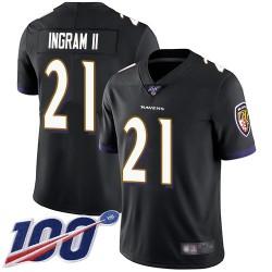 Limited Men's Mark Ingram II Black Alternate Jersey - #21 Football Baltimore Ravens 100th Season Vapor Untouchable