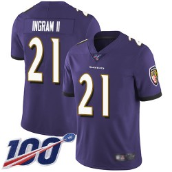 Limited Men's Mark Ingram II Purple Home Jersey - #21 Football Baltimore Ravens 100th Season Vapor Untouchable