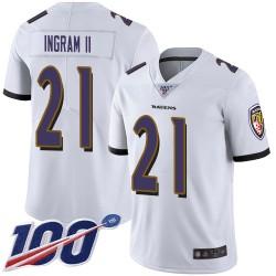 Limited Men's Mark Ingram II White Road Jersey - #21 Football Baltimore Ravens 100th Season Vapor Untouchable