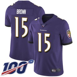 Limited Men's Marquise Brown Purple Home Jersey - #15 Football Baltimore Ravens 100th Season Vapor Untouchable