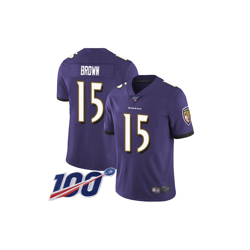 Limited Men's Marquise Brown Purple Home Jersey - #15 Football Baltimore Ravens 100th Season Vapor Untouchable Size 40/M