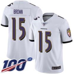 Limited Men's Marquise Brown White Road Jersey - #15 Football Baltimore Ravens 100th Season Vapor Untouchable