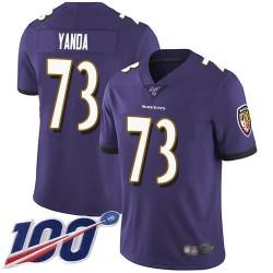 Limited Men's Marshal Yanda Purple Home Jersey - #73 Football Baltimore Ravens 100th Season Vapor Untouchable