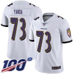 Limited Men's Marshal Yanda White Road Jersey - #73 Football Baltimore Ravens 100th Season Vapor Untouchable