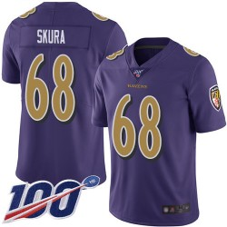 Limited Men's Matt Skura Purple Jersey - #68 Football Baltimore Ravens 100th Season Rush Vapor Untouchable