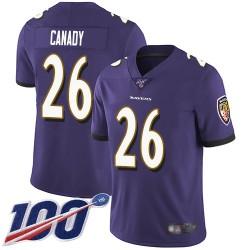 Limited Men's Maurice Canady Purple Home Jersey - #26 Football Baltimore Ravens 100th Season Vapor Untouchable