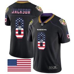 Limited Men's Lamar Jackson Black Jersey - #8 Football Baltimore Ravens Rush USA Flag