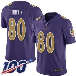 Limited Men's Miles Boykin Purple Jersey - #80 Football Baltimore Ravens 100th Season Rush Vapor Untouchable