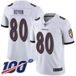 Limited Men's Miles Boykin White Road Jersey - #80 Football Baltimore Ravens 100th Season Vapor Untouchable