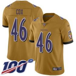Limited Men's Morgan Cox Gold Jersey - #46 Football Baltimore Ravens 100th Season Inverted Legend