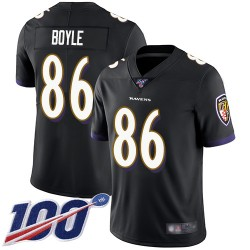 Limited Men's Nick Boyle Black Alternate Jersey - #86 Football Baltimore Ravens 100th Season Vapor Untouchable
