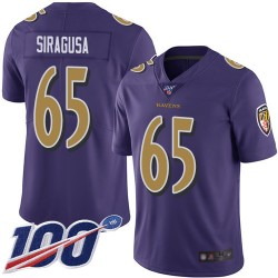 Limited Men's Nico Siragusa Purple Jersey - #65 Football Baltimore Ravens 100th Season Rush Vapor Untouchable