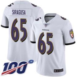 Limited Men's Nico Siragusa White Road Jersey - #65 Football Baltimore Ravens 100th Season Vapor Untouchable