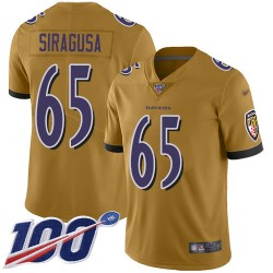Limited Men's Nico Siragusa Gold Jersey - #65 Football Baltimore Ravens 100th Season Inverted Legend