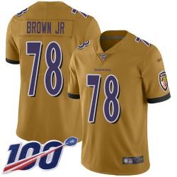 Limited Men's Orlando Brown Jr. Gold Jersey - #78 Football Baltimore Ravens 100th Season Inverted Legend