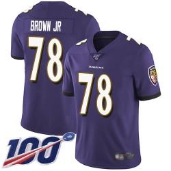 Limited Men's Orlando Brown Jr. Purple Home Jersey - #78 Football Baltimore Ravens 100th Season Vapor Untouchable