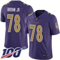 Limited Men's Orlando Brown Jr. Purple Jersey - #78 Football Baltimore Ravens 100th Season Rush Vapor Untouchable
