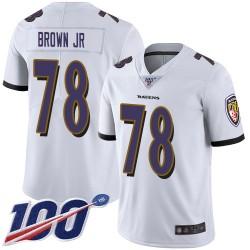 Limited Men's Orlando Brown Jr. White Road Jersey - #78 Football Baltimore Ravens 100th Season Vapor Untouchable