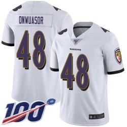 Limited Men's Patrick Onwuasor White Road Jersey - #48 Football Baltimore Ravens 100th Season Vapor Untouchable