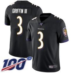 Limited Men's Robert Griffin III Black Alternate Jersey - #3 Football Baltimore Ravens 100th Season Vapor Untouchable