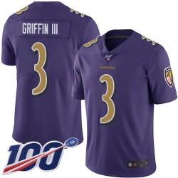 Limited Men's Robert Griffin III Purple Jersey - #3 Football Baltimore Ravens 100th Season Rush Vapor Untouchable