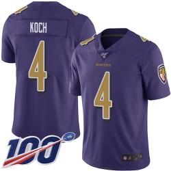 Limited Men's Sam Koch Purple Jersey - #4 Football Baltimore Ravens 100th Season Rush Vapor Untouchable