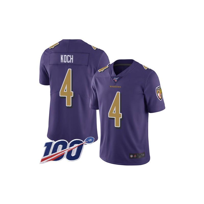 Limited Men's Sam Koch Purple Jersey - #4 Football Baltimore Ravens 100th Season Rush Vapor Untouchable Size 40/M