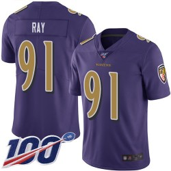 Limited Men's Shane Ray Purple Jersey - #91 Football Baltimore Ravens 100th Season Rush Vapor Untouchable
