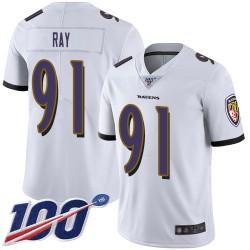 Limited Men's Shane Ray White Road Jersey - #91 Football Baltimore Ravens 100th Season Vapor Untouchable