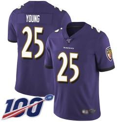 Limited Men's Tavon Young Purple Home Jersey - #25 Football Baltimore Ravens 100th Season Vapor Untouchable