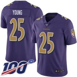 Limited Men's Tavon Young Purple Jersey - #25 Football Baltimore Ravens 100th Season Rush Vapor Untouchable