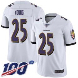 Limited Men's Tavon Young White Road Jersey - #25 Football Baltimore Ravens 100th Season Vapor Untouchable