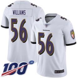 Limited Men's Tim Williams White Road Jersey - #56 Football Baltimore Ravens 100th Season Vapor Untouchable