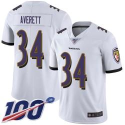 Limited Men's Anthony Averett White Road Jersey - #34 Football Baltimore Ravens 100th Season Vapor Untouchable