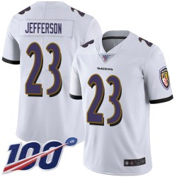Limited Men's Tony Jefferson White Road Jersey - #23 Football Baltimore Ravens 100th Season Vapor Untouchable