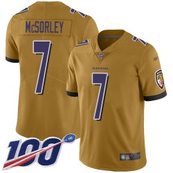 Limited Men's Trace McSorley Gold Jersey - #7 Football Baltimore Ravens 100th Season Inverted Legend
